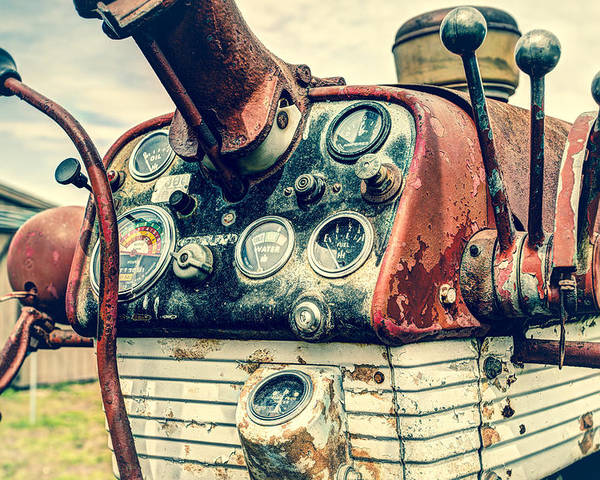 Industrial Poster featuring the photograph Tractor Dash - Farmall 560 Diesel by Gary Heller