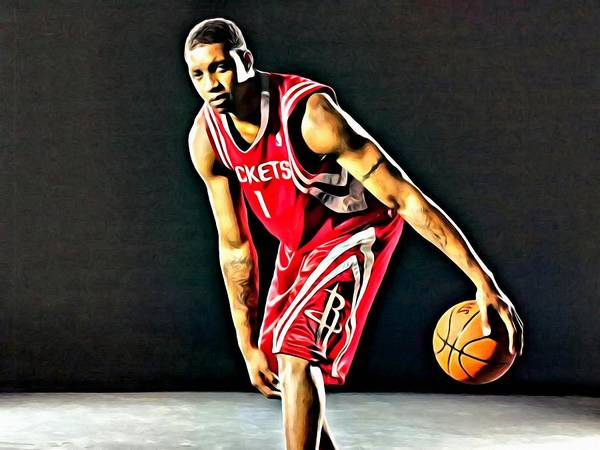 National Poster featuring the painting Tracy Mcgrady Portrait by Florian Rodarte