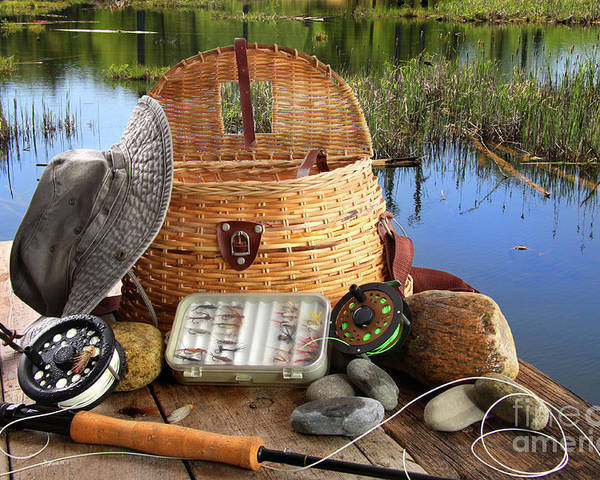 Activity Poster featuring the photograph Traditional Fly-fishing Rod With Equipment by Sandra Cunningham