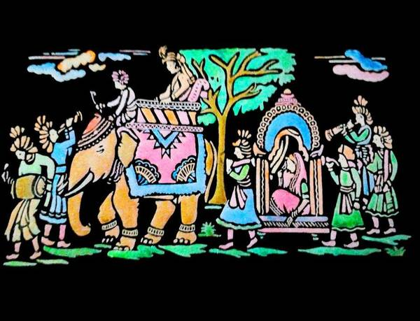 Traditional Poster featuring the painting Traditional Indian Ancient Wedding Procession Emboss Painting by Bhavana Menon
