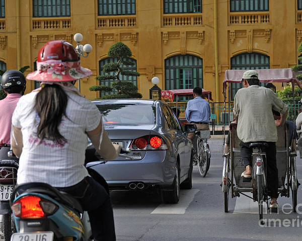 Hanoi Poster featuring the photograph Traffic In Downtown Hanoi by Sami Sarkis