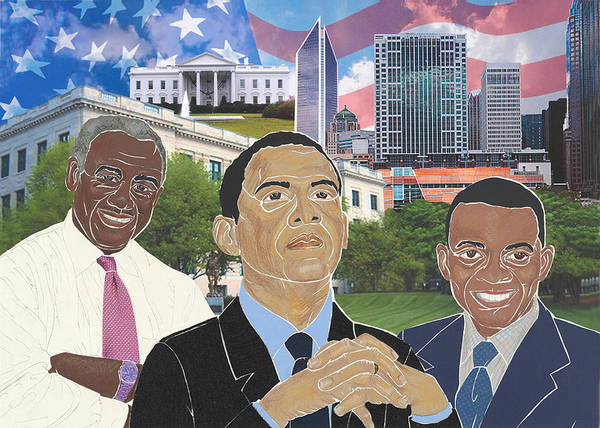 Harvey B. Gantt Poster featuring the mixed media Trailblazers 2012 by Martha Rucker