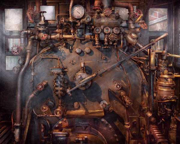 Savad Poster featuring the photograph Train - Engine - Hot Under The Collar by Mike Savad