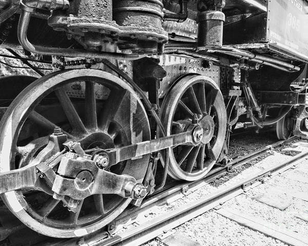 Paul ward poster featuring the photograph train steam engine wheels black and white by