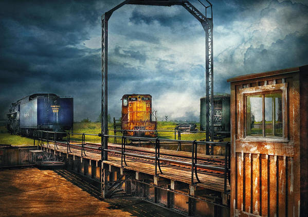 Savad Poster featuring the photograph Train - Yard - On The Turntable by Mike Savad