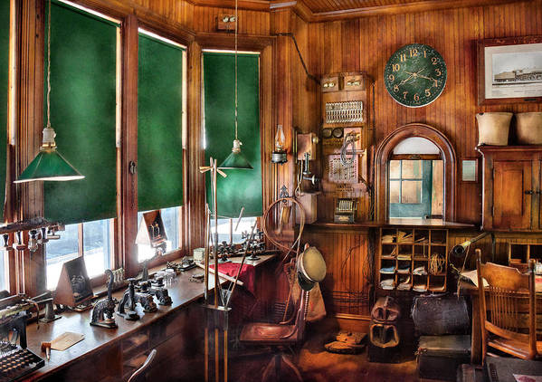 Hdr Poster featuring the photograph Train - Yard - The Stationmasters Office by Mike Savad