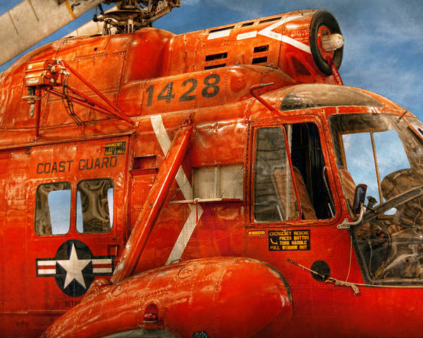 Savad Poster featuring the photograph Transportation - Helicopter - Coast Guard Helicopter by Mike Savad