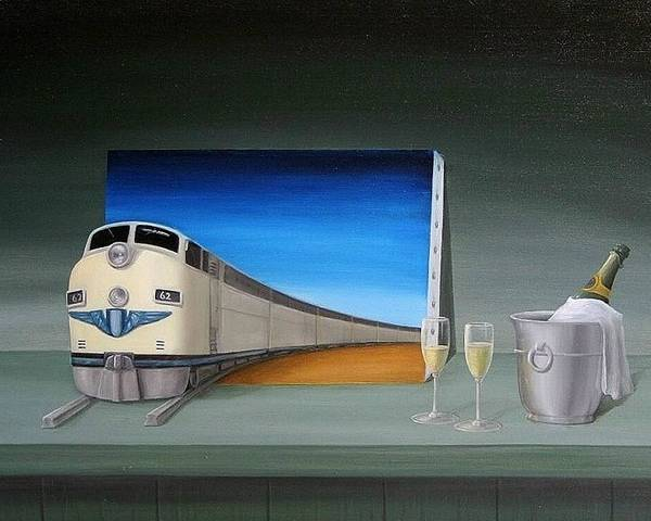 Still Life Train Traveler Green Oilpaint Surreal Surrealism Chapagne Glasses Bottle 3d Canvas Prints I Phone Cases Transportation Fantasy Wine Poster featuring the painting Traveler by Michel Sehstedt