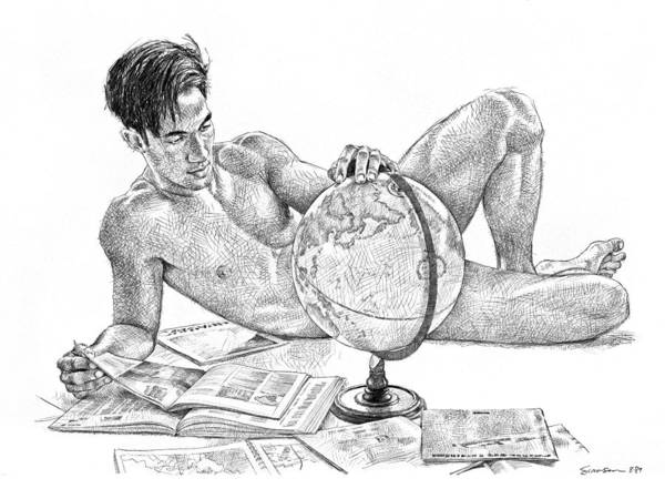 Male Nude Poster featuring the drawing Traveller by Douglas Simonson