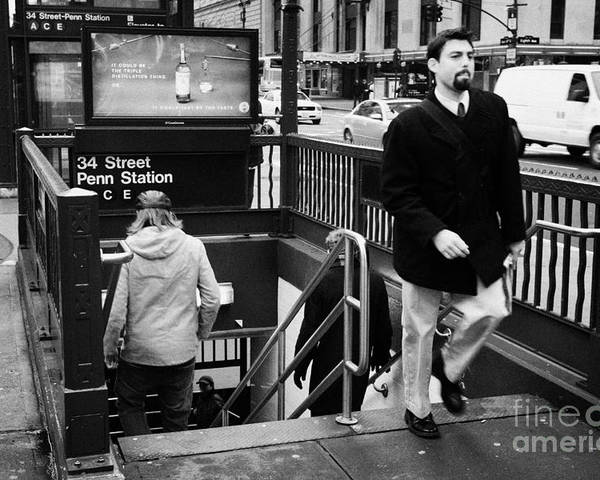 Usa Poster featuring the photograph Travellers Exiting And Entering 34th Street Entrance To Penn Station Subway New York City by Joe Fox