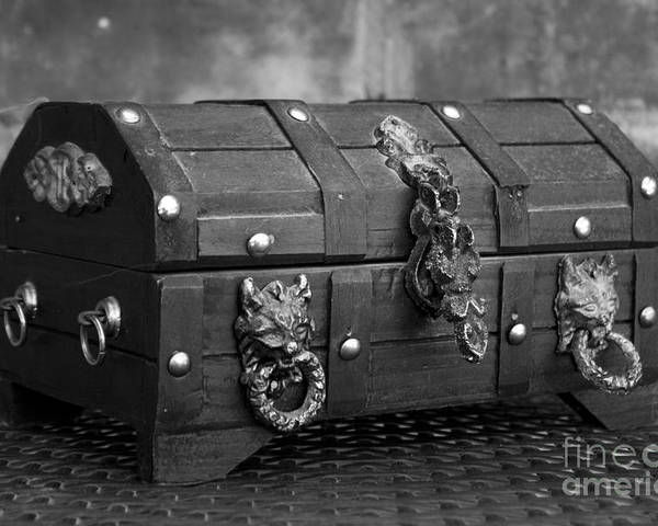 treasure chest in black and white poster by alycia christine