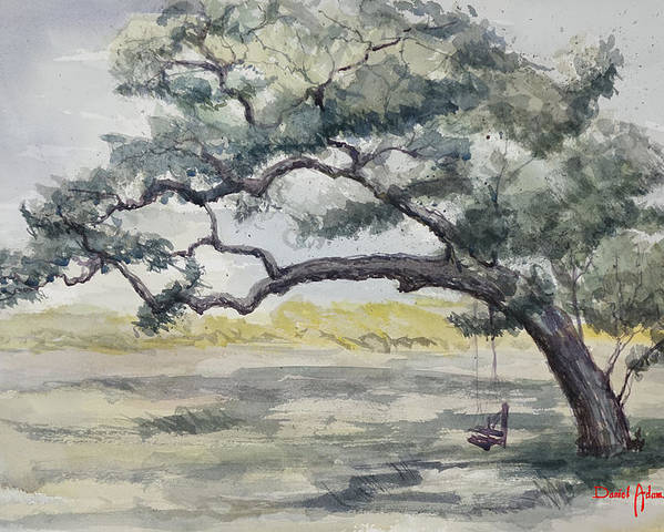 Tree Poster featuring the painting Da187 Tree Swing Painting By Daniel Adams by Daniel Adams