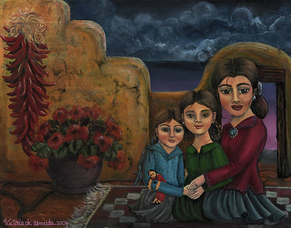 Mom Poster featuring the painting Tres Mujeres Three Women by Victoria De Almeida
