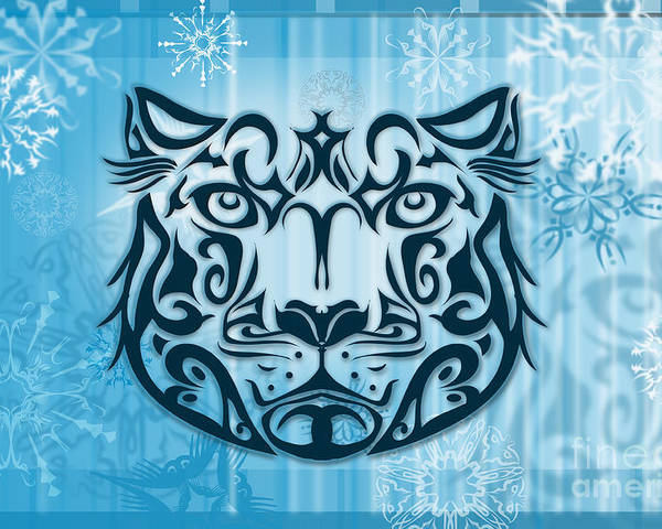 Vector Poster featuring the digital art Tribal Tattoo Design Illustration Poster Of Snow Leopard by Sassan Filsoof