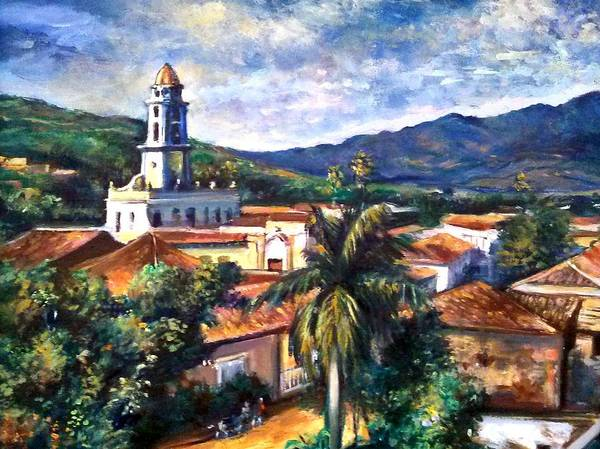 Town In Cuba Poster featuring the painting Trinadad Cuba by Philip Corley