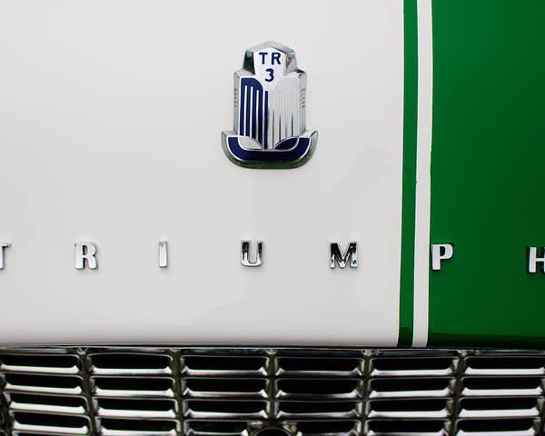 Triumph Tr3 Grille Hood Emblem Poster By Jill Reger