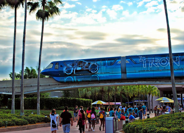 Monorail Poster featuring the photograph Tron Monorail At Walt Disney World by Thomas Woolworth