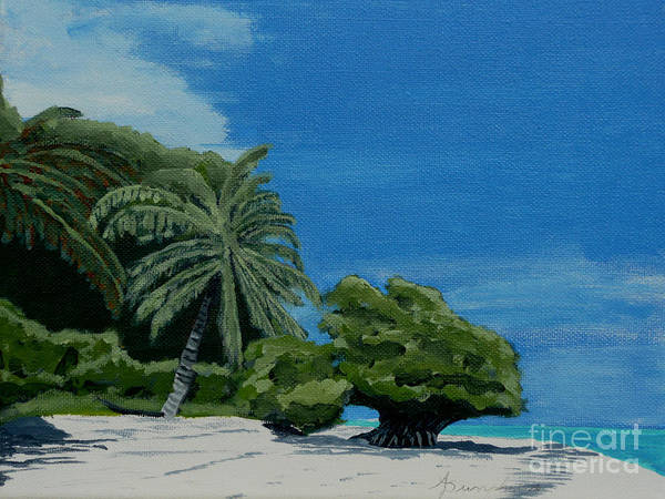 Beach Poster featuring the painting Tropical Beach by Anthony Dunphy