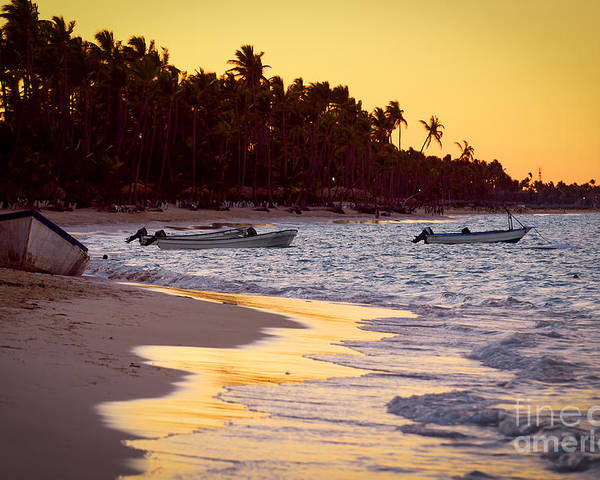 Beach Poster featuring the photograph Tropical Beach At Sunset by Elena Elisseeva