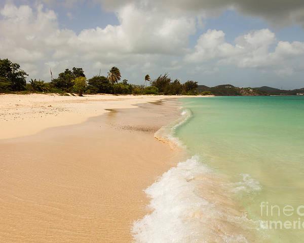 Clouds Poster featuring the photograph Tropical Caribbean Beach by Sarah Cheriton-Jones