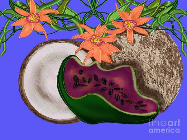 Coconut Poster featuring the digital art Tropical Fruit by Christine Fournier