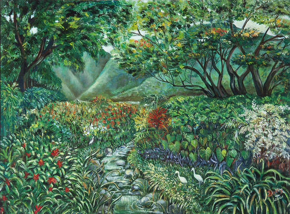 Betty Glanville Poster featuring the painting Tropical Garden by Betty Glanville