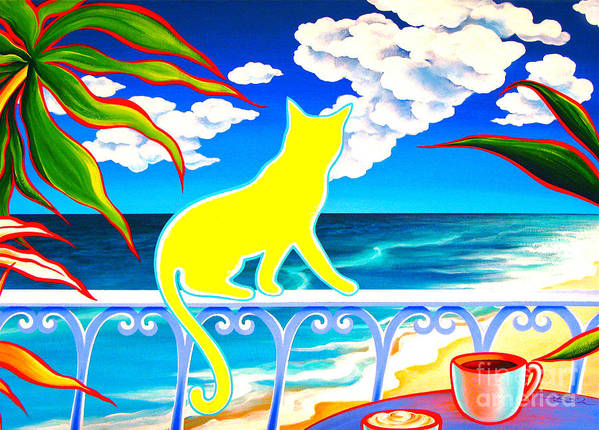 Cat Poster featuring the painting Sea Breeze And Coffee by Gem S Visionary