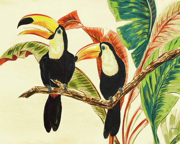 Toucans Poster featuring the painting Tropical Toucans I by Linda Baliko