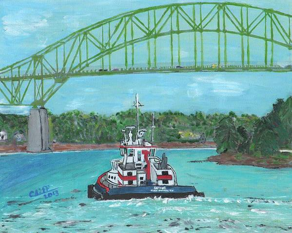 Tugboats Poster featuring the painting Tug Sabine Under Bourne Bridge by Cliff Wilson