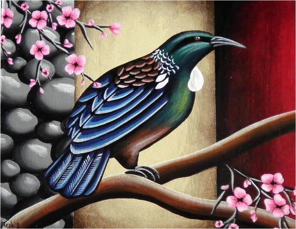 Kiwiana Nz New Zealand Bird Native Nature Wildlife Tui Cherry Blossom Flower Branch Stones Poster featuring the painting Tui And Cherry Blossom by Natasha Shackleton