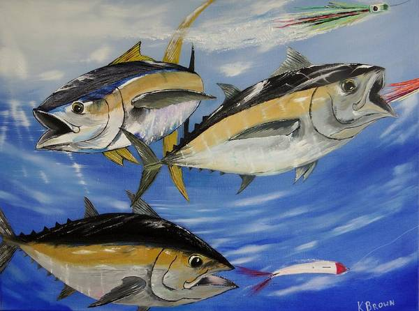Tuna Poster featuring the painting Tuna Attack by Kevin Brown