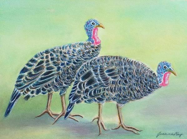 Turkeys Poster featuring the painting Turkey Trot Girls by Jeanne Kay Juhos