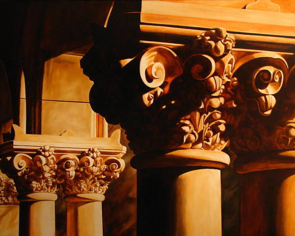 Corinthian Columns Poster featuring the painting Turn Of The Century by Keith Gantos