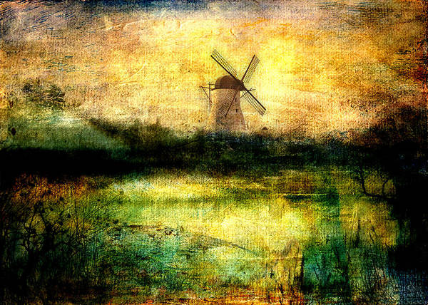Windmill Poster featuring the digital art Turning Windmill by Sarah Vernon