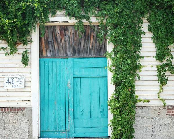 Turquoise Door Poster featuring the photograph Turquoise Door by Pamela Schreckengost