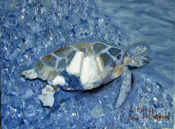 Turtle Poster featuring the painting Turtle On Black Sand Beach by Laurie Morgan