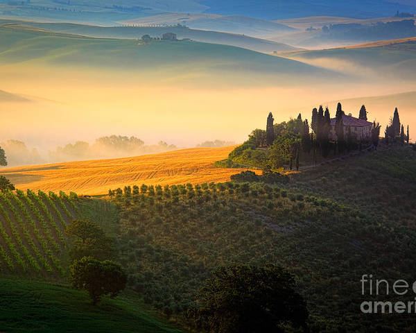Europe Poster featuring the photograph Tuscan Dawn by Inge Johnsson