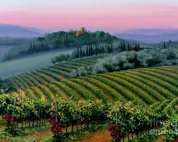 Tuscan Sunset Poster featuring the painting Tuscan Dusk by Michael Swanson