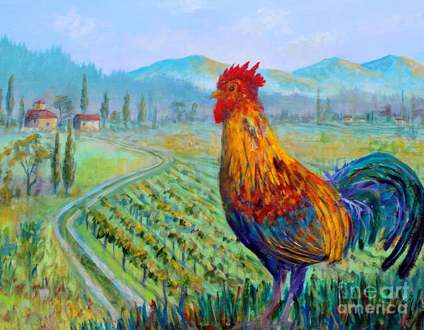 Tuscan Rooster Poster featuring the painting Tuscan Rooster by Lou Ann Bagnall