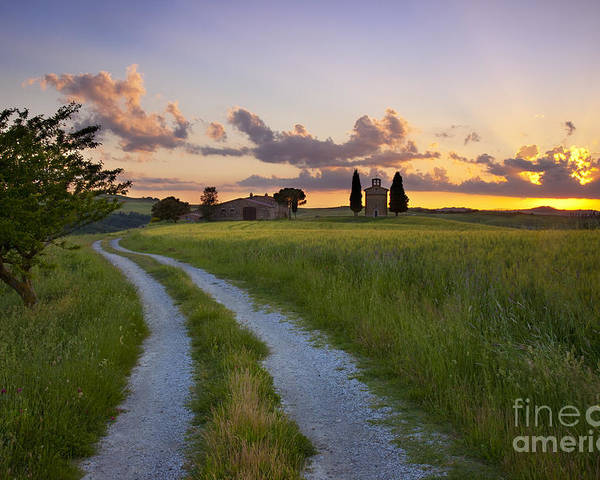 Cappella Poster featuring the photograph Tuscan Sunset by Brian Jannsen