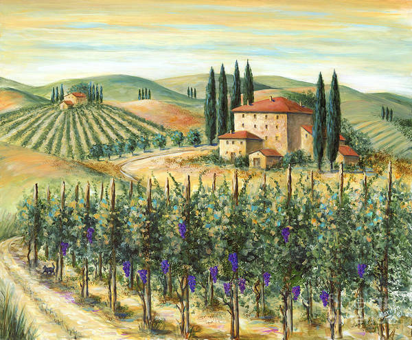 Tuscany Poster featuring the painting Tuscan Vineyard And Villa by Marilyn Dunlap