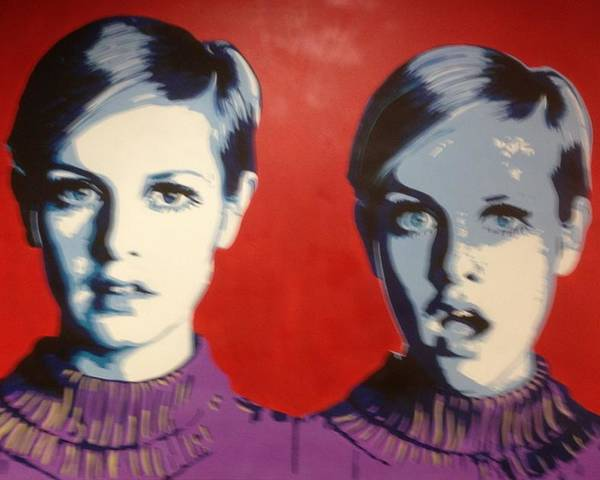 Pop Art Poster featuring the painting Twiggy Two Face by Grant Swinney