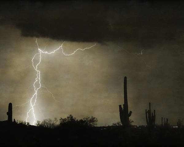 Saguaro Poster featuring the photograph Twisted Desert Lightning Storm by James BO Insogna