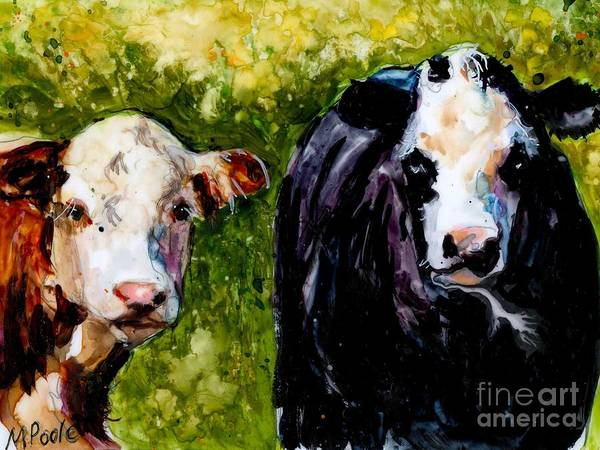 Cows Poster featuring the painting Two Cows by Molly Poole