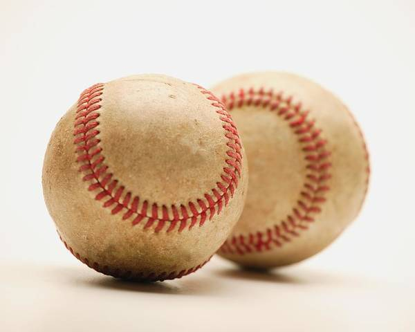 Balls Poster featuring the photograph Two Dirty Baseballs by Darren Greenwood