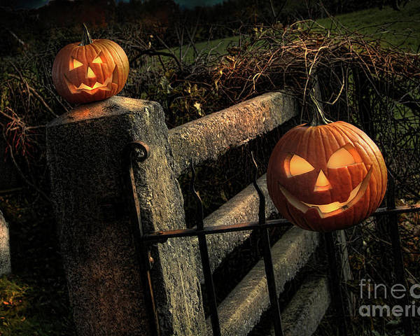 Celebration Poster featuring the photograph Two Halloween Pumpkins Sitting On Fence by Sandra Cunningham