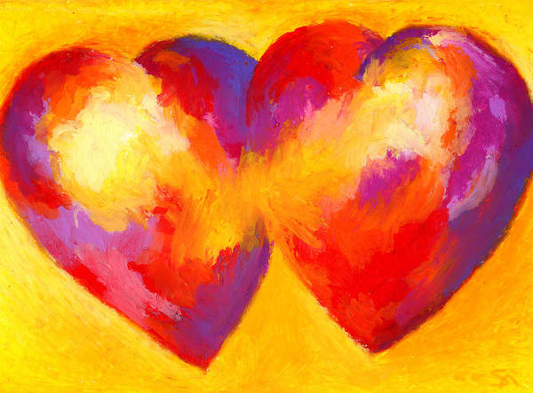 Hearts Poster featuring the painting Two Hearts Beat As One by Stephen Anderson