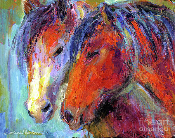 Mustang Horse Prints Poster featuring the painting Two Mustang Horses Painting by Svetlana Novikova