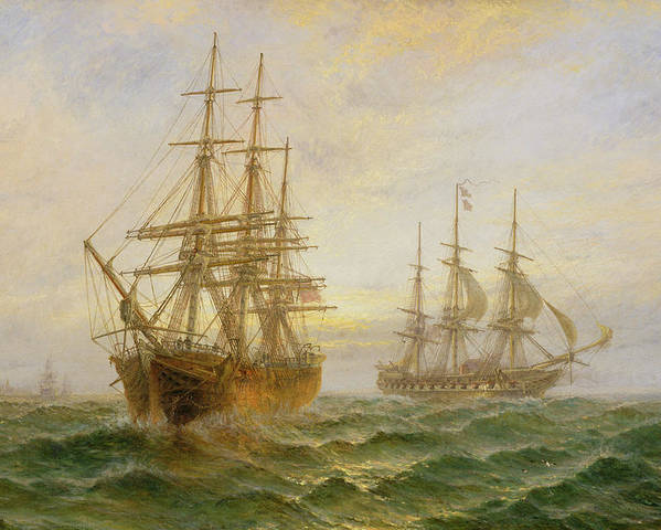 Ghost Ship Poster featuring the painting Two Ships Passing At Sunset by Claude T Stanfield Moore