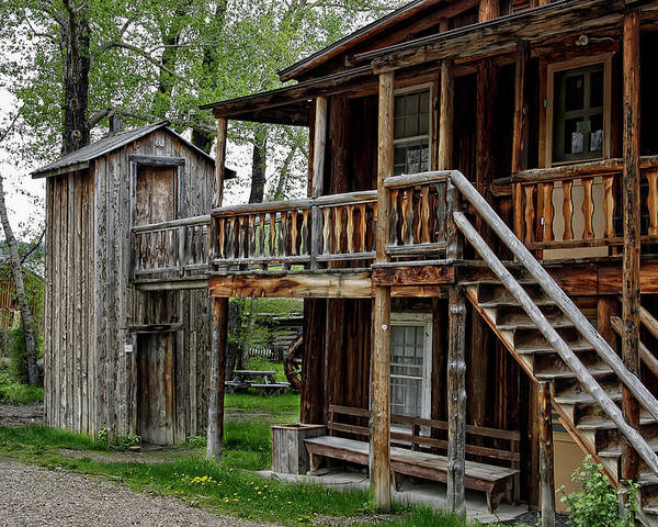 Outhouse Poster featuring the photograph Two Story Outhouse - Nevada City Montana by Daniel Hagerman